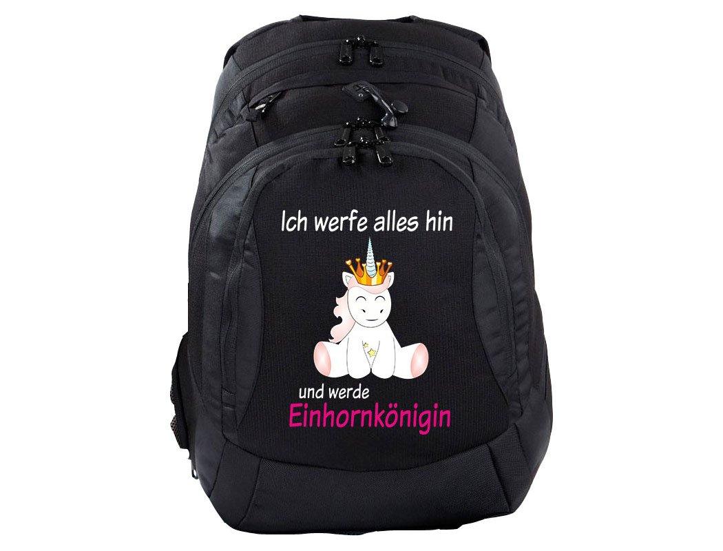 Mein Zwergenland Schulrucksack Teen Compact, 26 L, Schwarz, Einhornkönigin