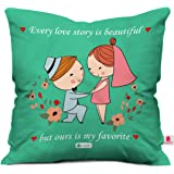 Indigifts 12x12-inches Satin and Fibre Cushion Cover with Filler (Green and White)