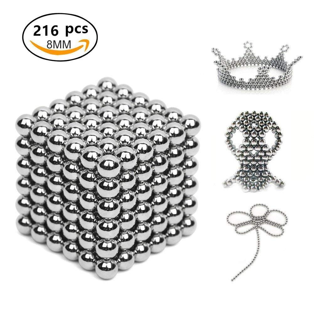 Q&Z Magnets Building Puzzle Toys,216pcs+6pcs 8mm,Magnet Building Blocks Construction Set Puzzle Stacking Game Sculpture Desk Toys for Adult Intelligence Development and Stress Relief