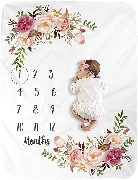 Milestone Blanket Knit Blanket Floral Baby Gift Monthly Photo Blanket Minky Blanket Photo Prop