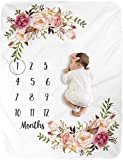 (100cm X 130cm, Pink) - Milestone Blanket/Baby Milestone Blanket Girl Boy/Large Baby Blankets for Girls and Boys Newborn Photography Premium Fleece Baby Monthly Blanket Shower Gifts