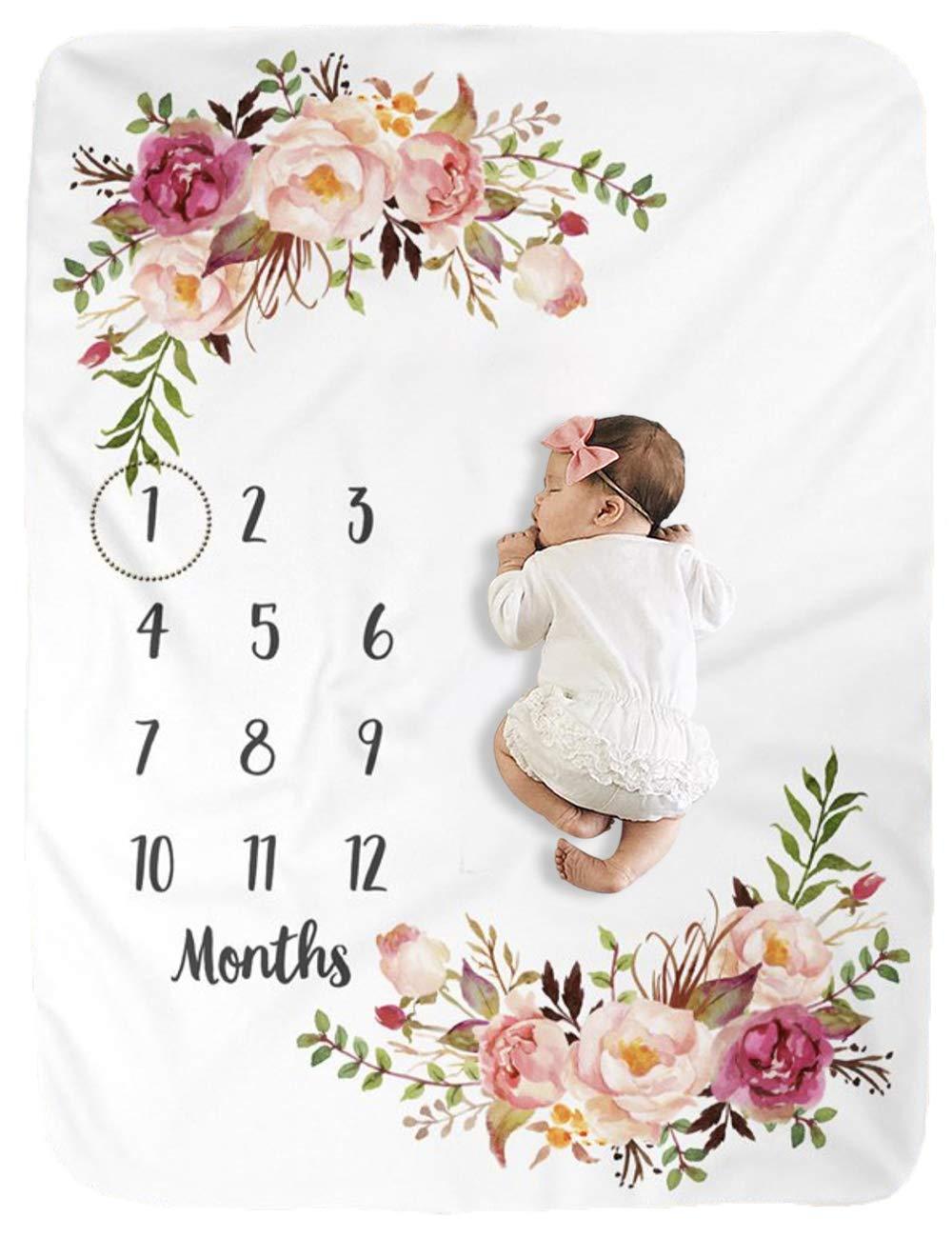 Milestone Blanket/Baby Milestone Blanket Girl Boy/Large Baby Blankets for Girls and Boys Newborn Photography Premium Fleece Baby Monthly Blanket Shower Gifts by BUTTZO