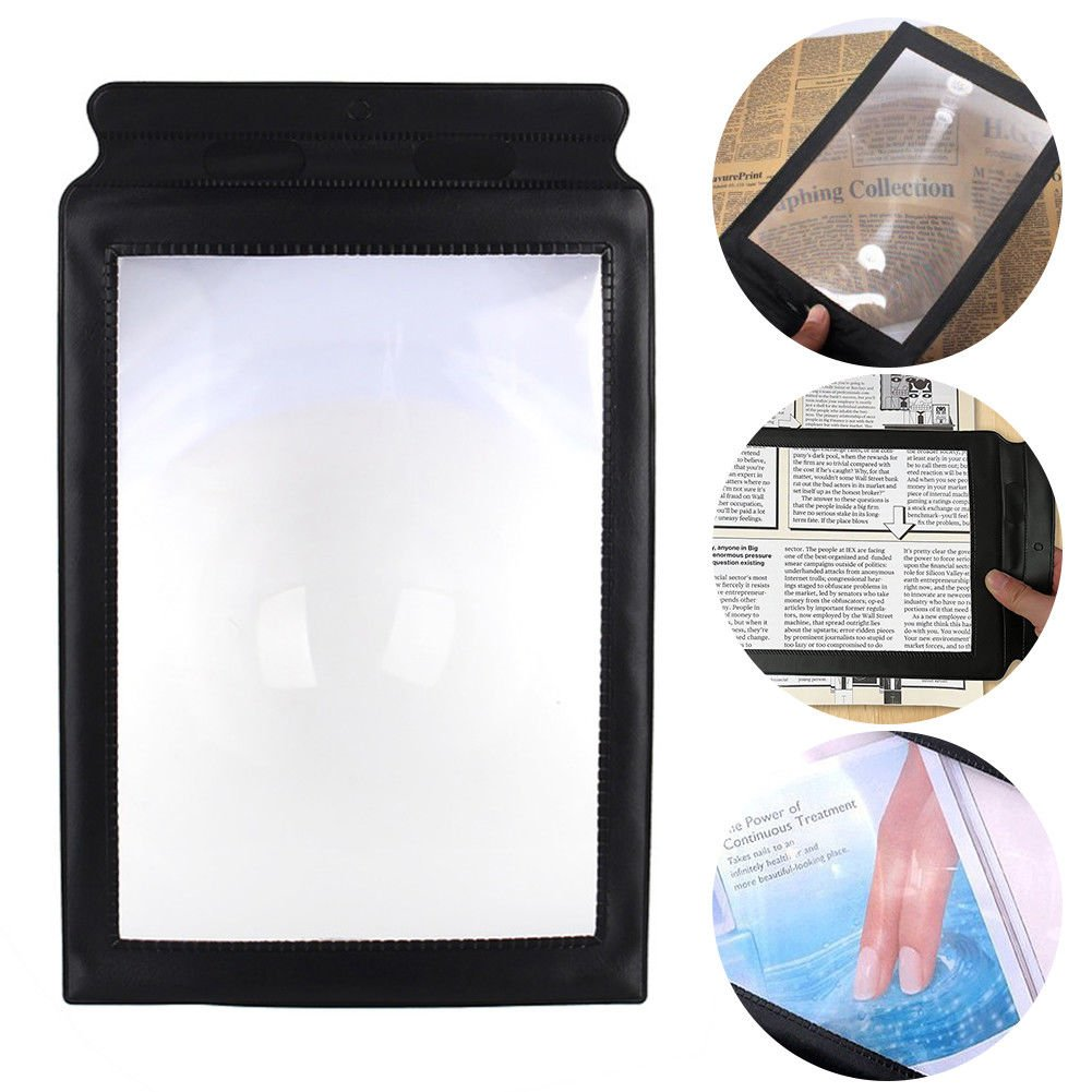 Lolicute A4 Magnifier,Full Page Large Sheet Magnifying Glass Reading Aid Lens 3X Magnification Perfect Gift for The Elderly and Those People with Poor Eyesight,Great Gift (Black)