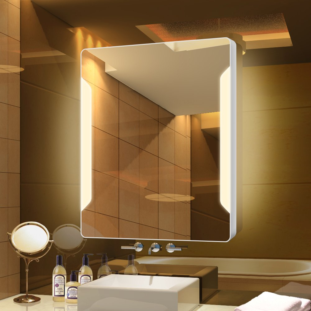 Stamo Vanity Bathroom Silvered Anti-Fog Mirror LED Lighted with Touch Button Vertical Bathroom Vanity Lighted, dimmable Lighting Mirror by Stamo (Image #8)
