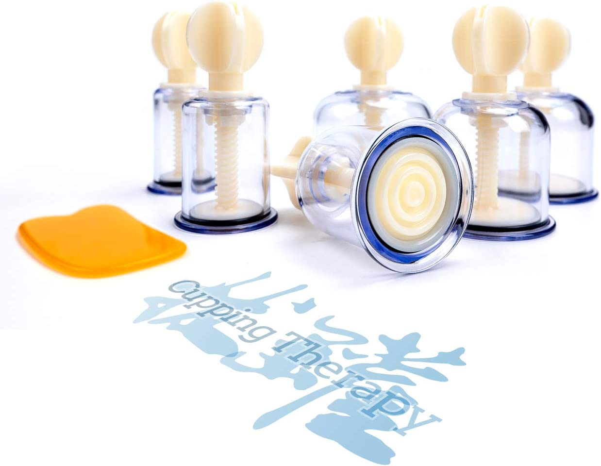 Professional Hand Twist Cupping Therapy Set, Rotary Chinese Acupuncture Enhanced Vacuum Cupping Device for Body Massage, Portable & Pump Free, Thicken & Durable - 6 Cups