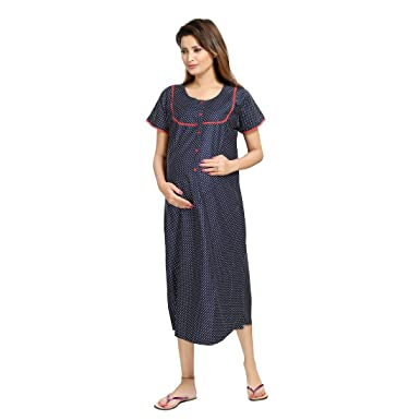 ac51e2bb9a4be PIU New Women's Mix Cotton Front Open Maternity Nighty Polka Dots /  Nightdress / Night Gown / Feeding Gown ...