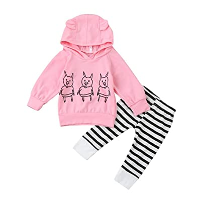 Fabal Toddler Infant Baby Girls Boys Pigs Print Clothes Set Hooded Tops+Pants Outfits: Clothing