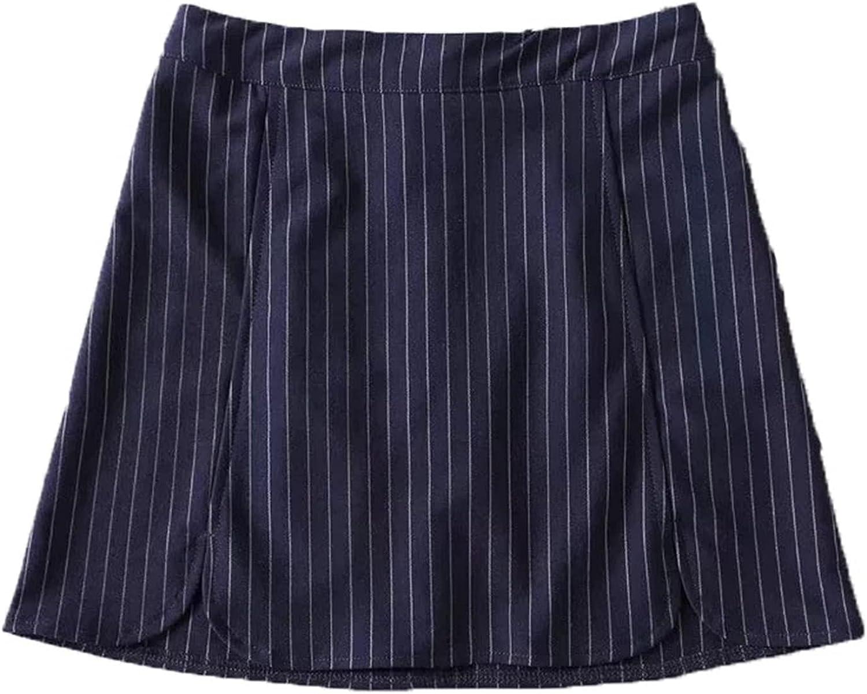 Minifalda de Verano para Mujer, Falda Corta con Abertura Lateral de Cintura Alta, Elegante Estilo Escolar, Falda Acampanada a Rayas