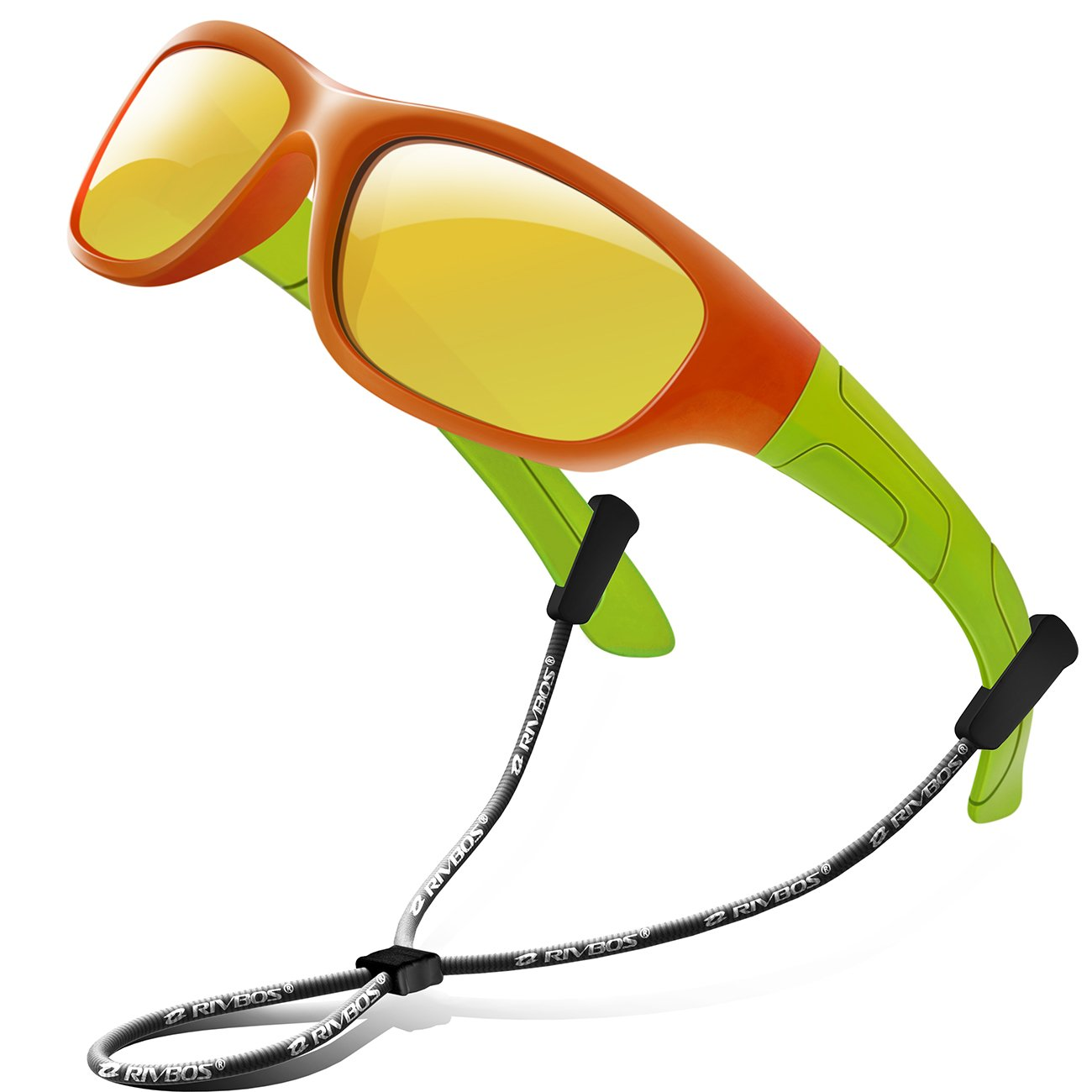 4963191c6f7 Amazon.com  RIVBOS Rubber Kids Polarized Sunglasses With Strap Glasses  Shades for Boys Girls Baby and Children Age 3-10 RBK025 (Orange Mirror  Lens)  ...