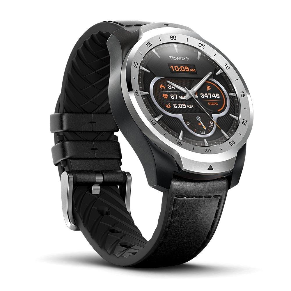 Reloj Inteligente TicWatch Pro con Bluetooth, Pantalla en Capas, Asistente Google, medidor de Ritmo cardiaco y pagos NFC. Sístema Google Wear OS. ...