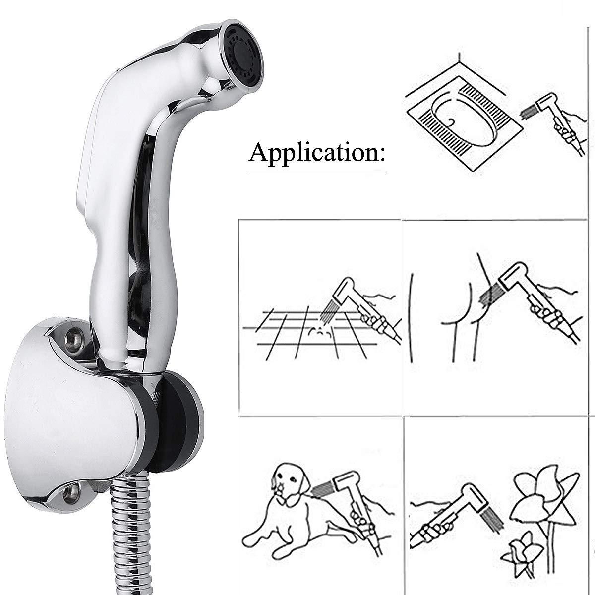 Sliver Handheld Bidet Sprayer Set Including Spray Head & Hanger Holder & 60'' Stainless Steel Hose & Brass 3/4'' T-Adapter for Toilet Bathroom by dDanke
