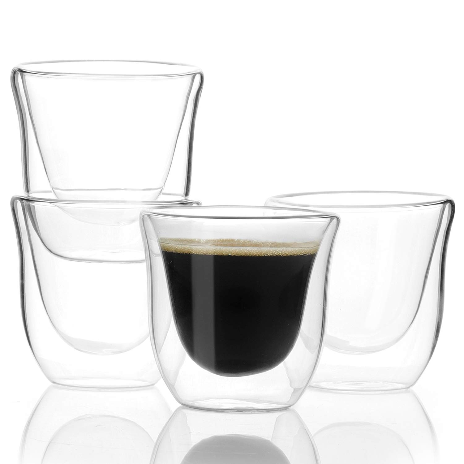 Sweese 4613 Espresso Shot Glasses Cups - 2.4 oz Double Walled Insulated Glass Espresso coffee Mugs, Set of 4
