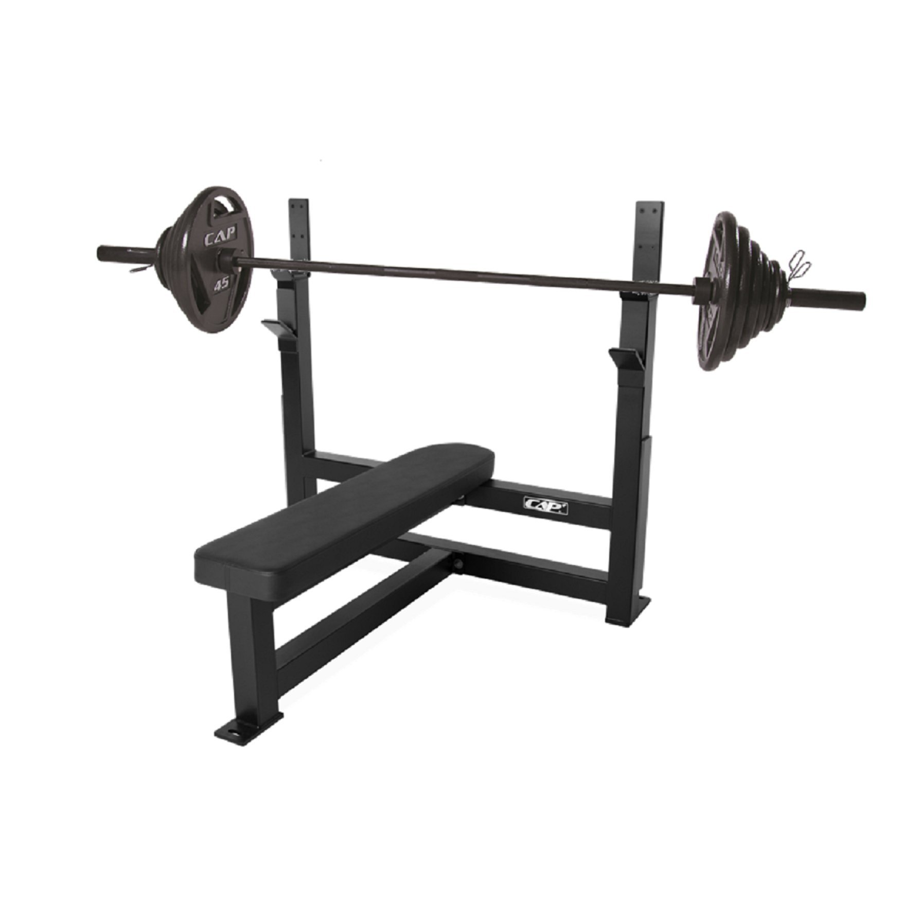 CAP Barbell 300-Pound Black Olympic Grip Set with Olympic Flat Bench