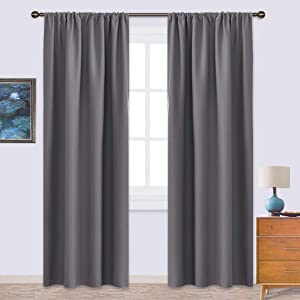 NICETOWN Blackout Curtains 84 for Office - 3 Pass Microfiber Noise Reducing Thermal Insulated Solid Rod Pocket Blackout Window Panels/Drapes (2 Panels, 42 x 84 Inch, Gray)