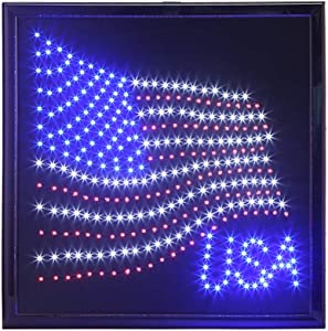 anrookie LED American Flag Sign with Animated Lighting, 19 x 19 Inch, Bright Red, White and Blue Lights, Hanging Wall Decor for Home, Bar, or RV Displays, Steel Chain