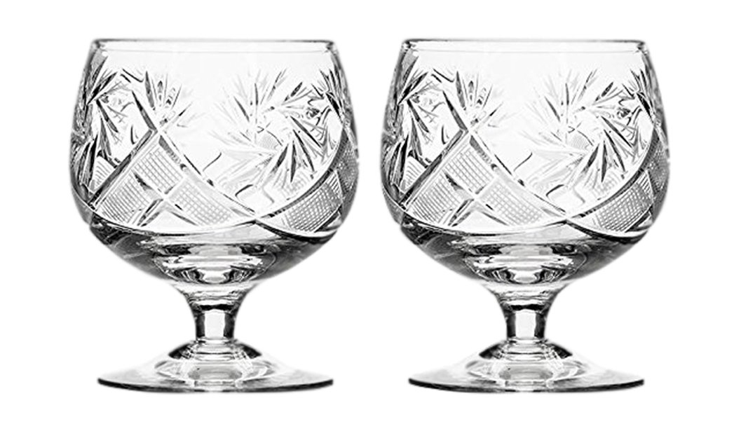 Set of 2 Hand Made Vintage Russian Crystal Brandy Cognac Snifter, Old-Fashioned Glassware