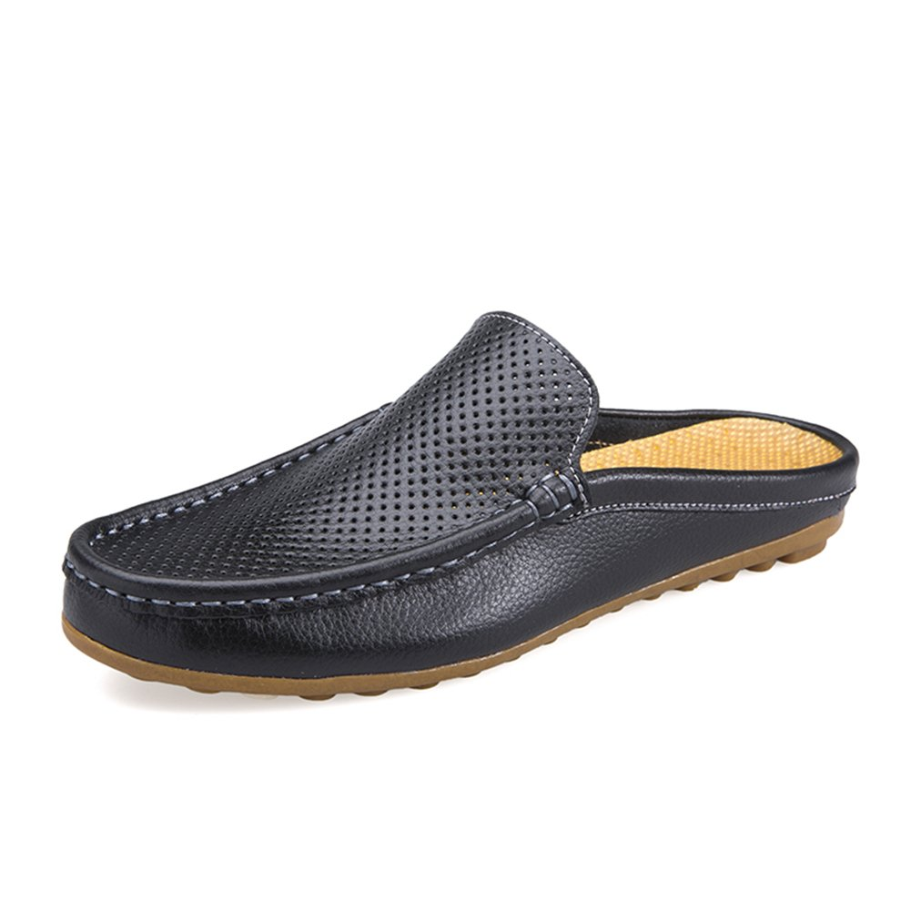 Go Tour Mens Mules Clog Slippers Breathable Punching Leather Slip on Shoes Casual Loafers Black 43