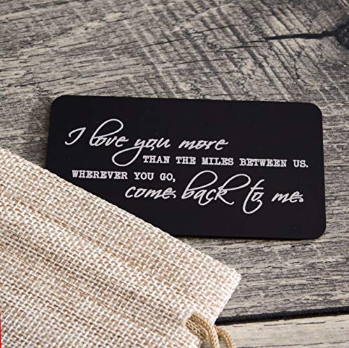 Laser Engraved Wallet Insert Card - I Miss You Reminder Metal Card - Long Distance Relationship Gift for Boyfriend or Friends - Military Deployment Gift