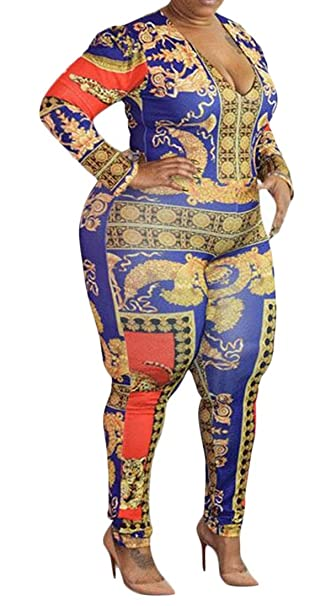 27ed5a346bdf Amazon.com  Domple Women s Print Bodycon Stretchy Long Sleeve Plus Size  Jumpsuit Romper  Clothing
