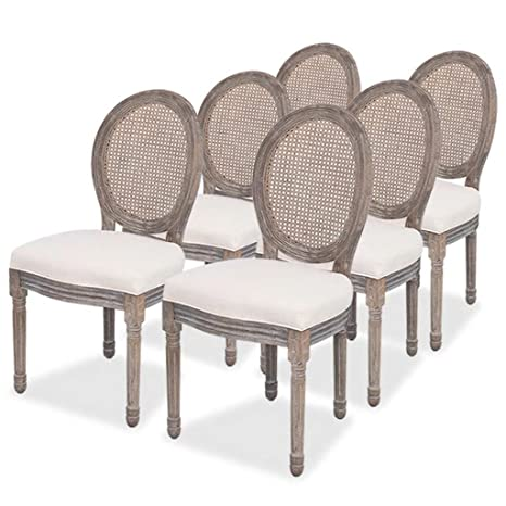 Luckyfu Questo Sedie Per Sala Da Pranzo 6 Pz In Tela E Rattan La