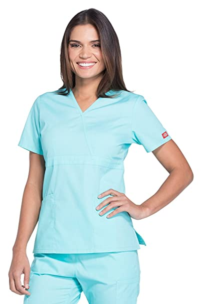85cf268082a Image Unavailable. Image not available for. Color: Dickies EDS Signature  Women's Mock Wrap Solid Scrub Top ...