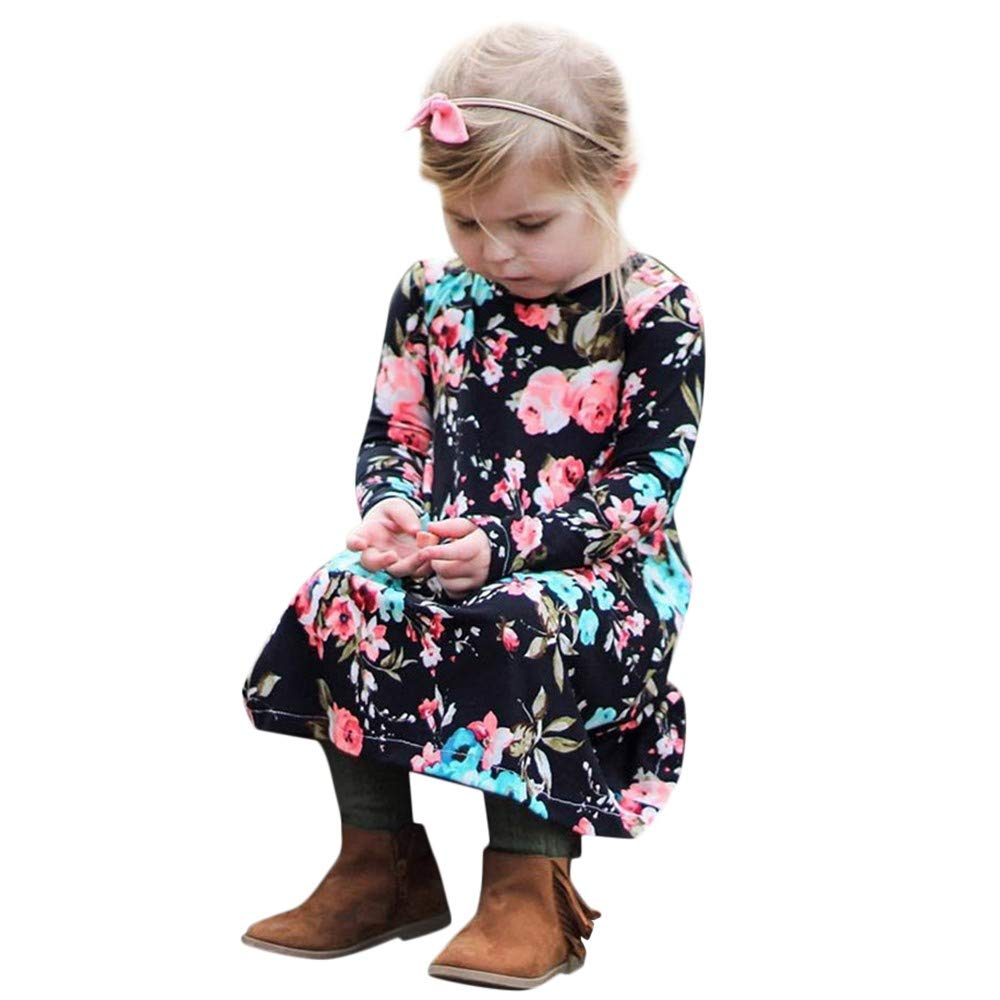 FORESTIME Cute Infant Baby Girls Floral Casual Winter Drees Cotton Playsuit Clothes