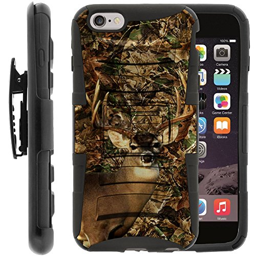 MINITURTLE Case Compatible with iPhone 6 Plus Dual Layer Kickstand and Holster Black Case - Deer Hunting -
