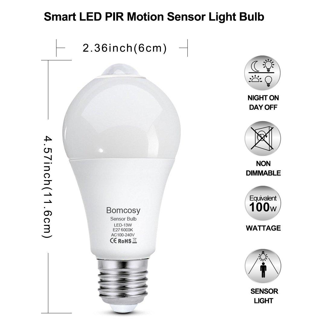 Bomcosy Bombillas LED con Sensor de Movimiento13W E27 Auto On//Off PIR Infrarrojo Detecci/ónBlanco C/álido 3000K Pack de 2
