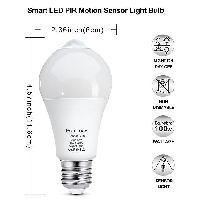 Bomcosy Bombilla LED Sensor Movimiento E27 13W Auto On/Off PIR Infrarrojo Detección Blanca Frio 6000K Pack de 2: Amazon.es: Bricolaje y herramientas