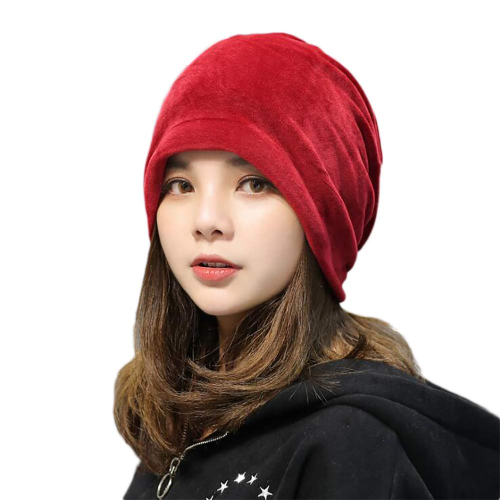 LOCAL LION Womens Gold Velvet Heap Hat Warm Skull Cap Slouchy Winter Thick Windproof Turban Muslim Headscarf Anti-Cold New
