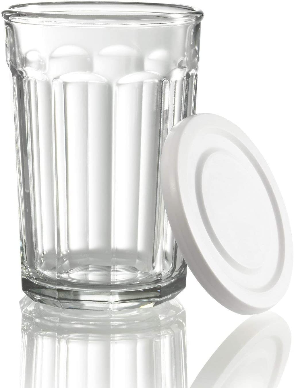 Luminarc Working Glass 21 Ounce Storage Jar//Cooler with White Lid Set of 4 Clear