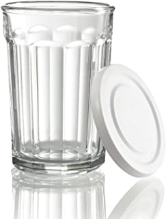 product image for Luminarc Working Glass 21 Ounce Storage Jar/Cooler with White Lid (Set of 4), Clear