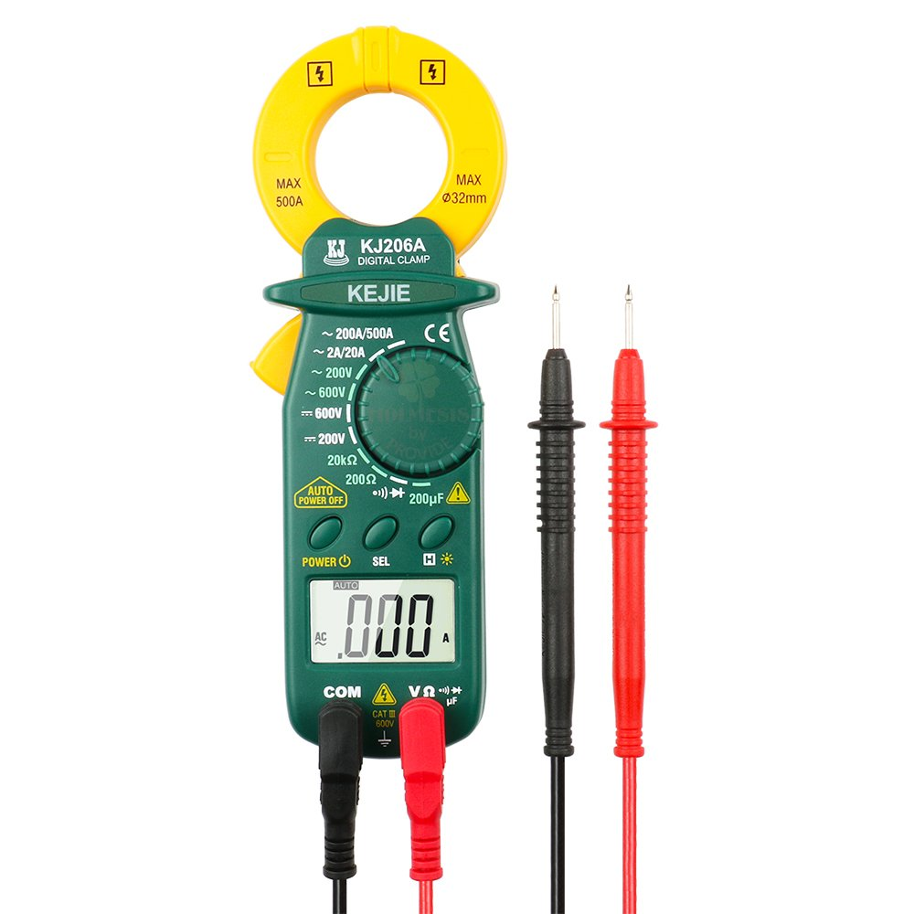 KJ206A AC 500A Mini Digital Clamp Meter Multimeter with AC/DC Voltage, Resistance, Capacitance, Continuity Measurement