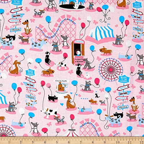 (Santee Print Works Kid's Choice Dogs Allover Pink Fabric by the Yard)
