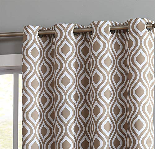 HLC.ME Ogee Trellis Print Blackout Grommet Curtain Panels for Bedroom - 99% Light Blocking - Thermal Insulated Decorative Pair for Privacy & Room Darkening - Set of 2 (52