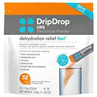DripDrop ORS Electrolyte Hydration Powder Sticks, Orange, 10g Sticks, 32 Count