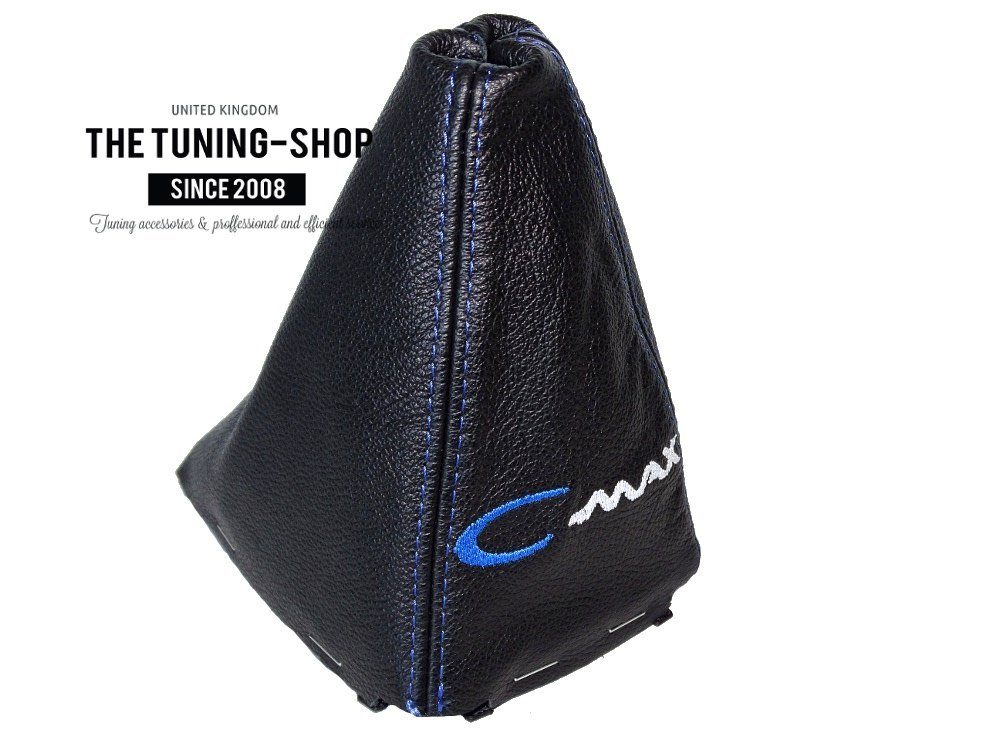 Gear Stick Gaiter with Plastic Frame Black Genuine Leather Blue C-max Embroidery
