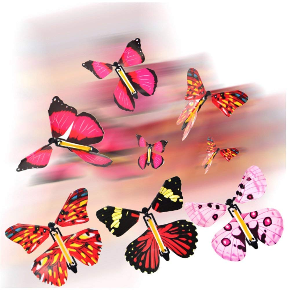 Deanyi Magic Fairy Flying in the Book Butterfly Rubber Band Powered Wind Up Butterfly Toys 4Pcs