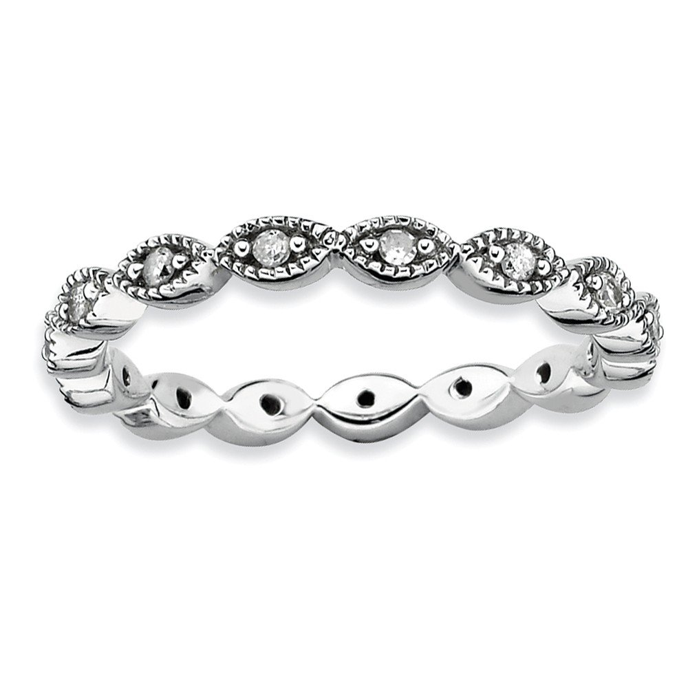 Roy Rose Jewelry Sterling Silver Stackable Expressions Diamond Ring Size 5