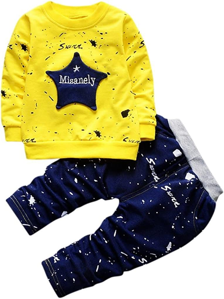 Hosen Outfits Baggyjeans Pullover /& Strickjacken Sweatshirts Hosen Babykleidung Krabbelhosen Gelb, 80 Hirolan Neugeborenes S/äugling Baby Jungen Star Drucken Tops