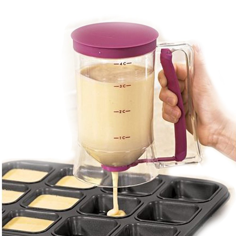 ASSIS Pancake Batter Dispenser ,Kitchen Easy Pour Home Kitchen Gadgets - Perfect Baking of Cupcakes, Waffles, Cakes, Muffin Mix, Crepes, Donuts or Any Baked Goods - Bakeware Maker with Measuring Label