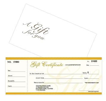 Amazon Custom Gift Certificates Cards With Envelopes 50 Set