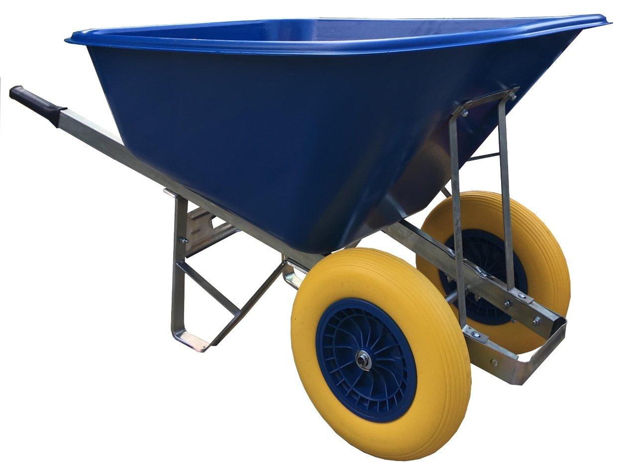 wheelbarrow 200l blue Puncture-Proof wheels wheelbarrow - delivered fully assembled Wheelbarrows Direct Ltd.