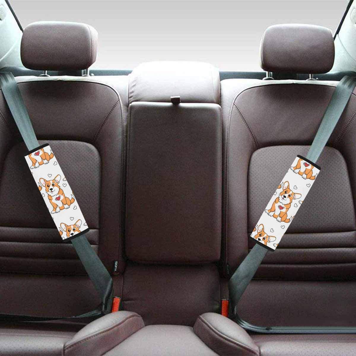 INTERESTPRINT Auto Seat Belt Covers Shoulder Seatbelt Pads for Adults 2 Packs