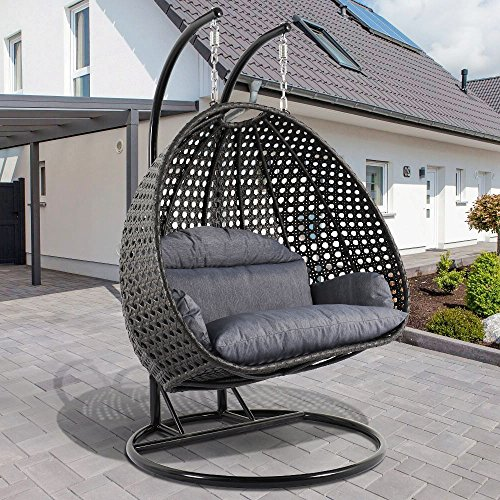 Deluxe Swing Chair Outdoor Furniture PE Rattan Wicker Hanging Hammock with Stand, Cushioned Loveseat Chaise Lounger, Perfect for Patio, Garden, Porch, Backyard, House, Indoor Living Decor (Hammocks Cushioned Single Swing)