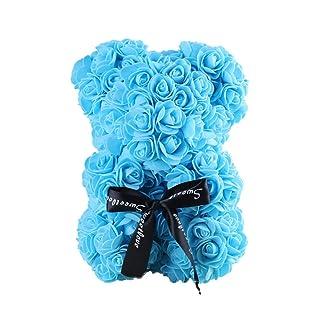 LIOOBO Rose Bear Hug Bear Artificial Forever Migliore Regalo Anniversario Compleanno Regalo di San Valentino - (25 Centimetri Blu)