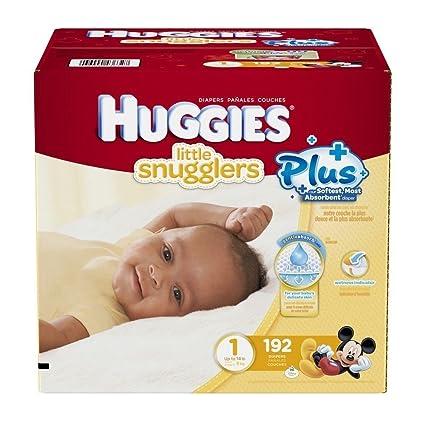 Huggies Pañales Little Snugglers Plus tamaño 1, 192 unidades: Amazon ...