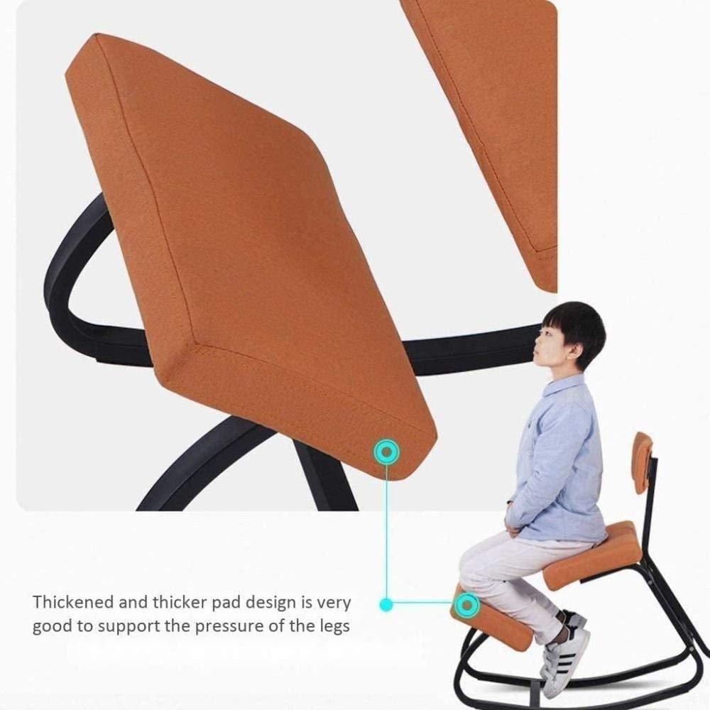 Ergonomisk kontorsstol skrivbordsstol ortopedisk pall lindrar ryggnacksmärta förbättrar hållning knästol gunga knästol (färg: Rosa) Orange