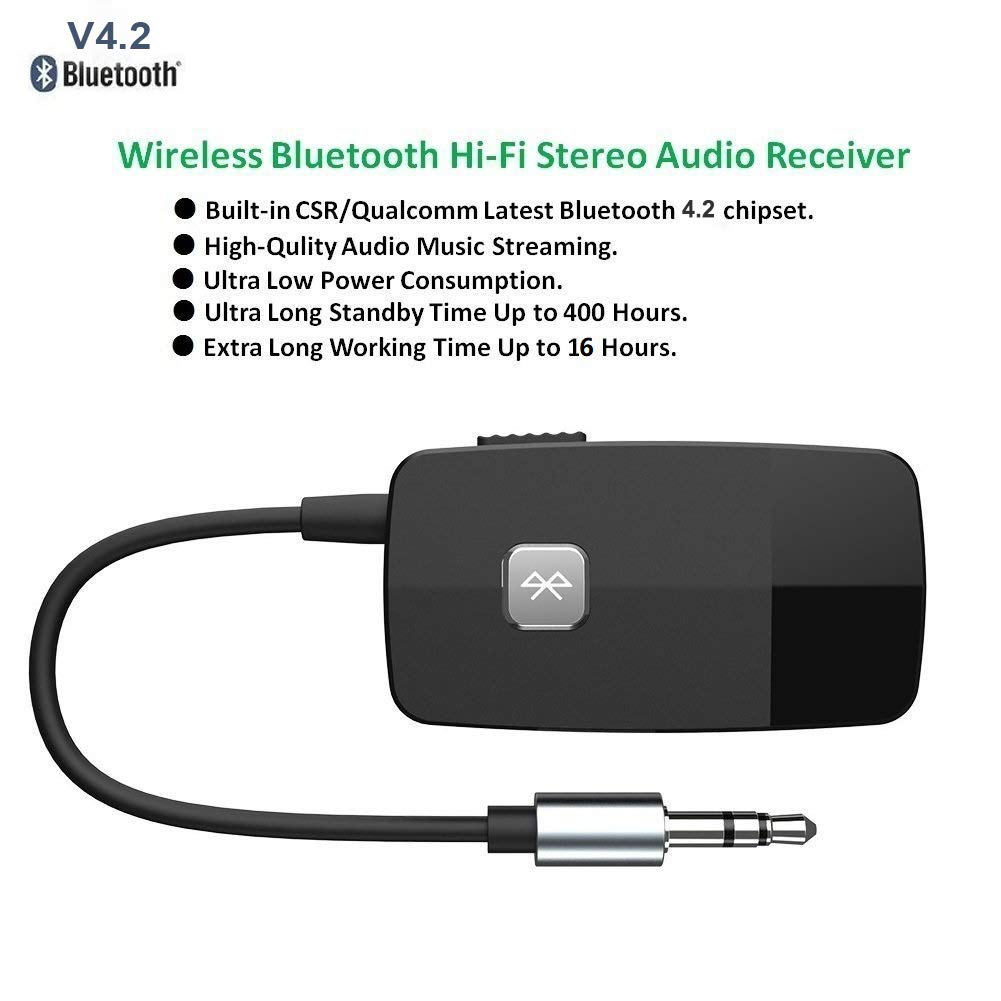Mise /à Jour Non-Stop Steaming Bluetooth St/ér/éo Musique Adaptateur Govlery Bluetooth V4.2 R/écepteur Audio Mini 3.5mm Aux Sortie Voiture Kit Soutenir Les appels Mains Libres
