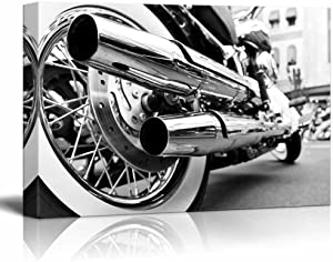 "Canvas Prints Wall Art - Motorcycle/Motor Bike in Black and White Vintage/Retro Style | Modern Wall Decor/Home Decoration Stretched Gallery Canvas Wrap Giclee Print & Ready to Hang - 16"" x 24"""